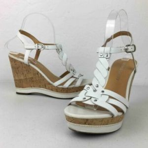 Franco Sarto Suzy White Wedge Heels